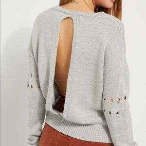 Love More gray open back sweater